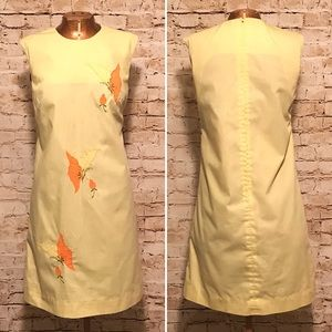 Vintage Embroidered Butterfly Sheath Dress